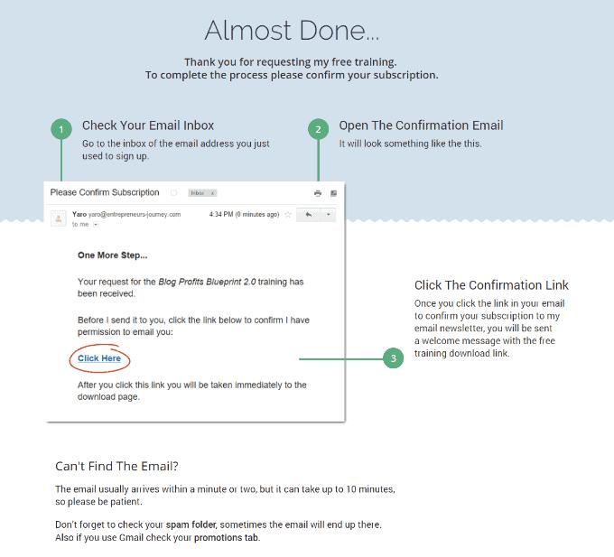 Köszönő oldal, ha double opt-int használsz az email marketingedben