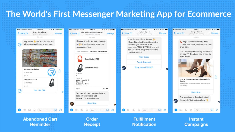 A Recart automatizált Facebook Messenger üzenetekkel hoz vissza érdeklődőket a fizetési oldaladra.